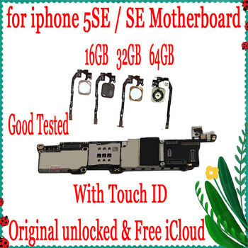 Original unlocked for iphone SE Motherboard with Touch ID,No iCloud for iphone 5SE Mainboard with Full Chips 16GB 32GB 64GB