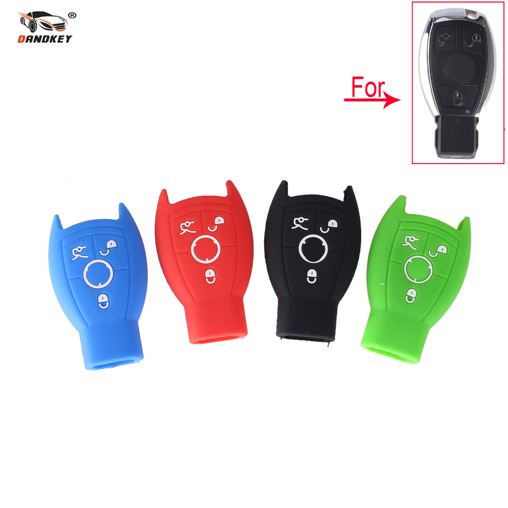 Dandkey silicone case cover smart key shell fit for replacement mercedes benz remote fob 3 buttons