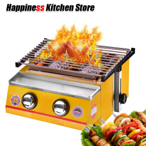 Image 2 - Stainless Steel BBQ Grill 2 Burners Gas Barbecue Infrared Gas Burner Nonstick Roasting Tray Gas Grill For Outdoor Camping