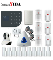 SmartYIBA дома охранной сигнализации приложение Управление реле из WI FI GPRS SMS Alarmes проводной детектор движения PIR IP Камера Предупреждение Siren рог