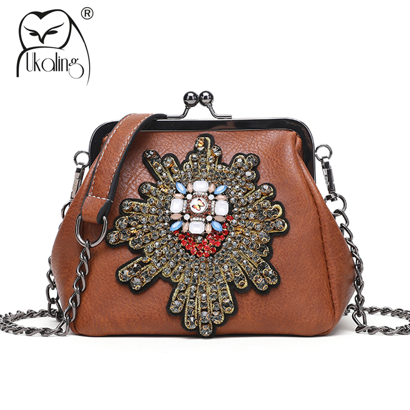 UKQLING Vintage Pattern Frame Women Messenger Bags PU Leather Women Bag Small Cross body Bag Ladies Clutch Purse Handbag Chain