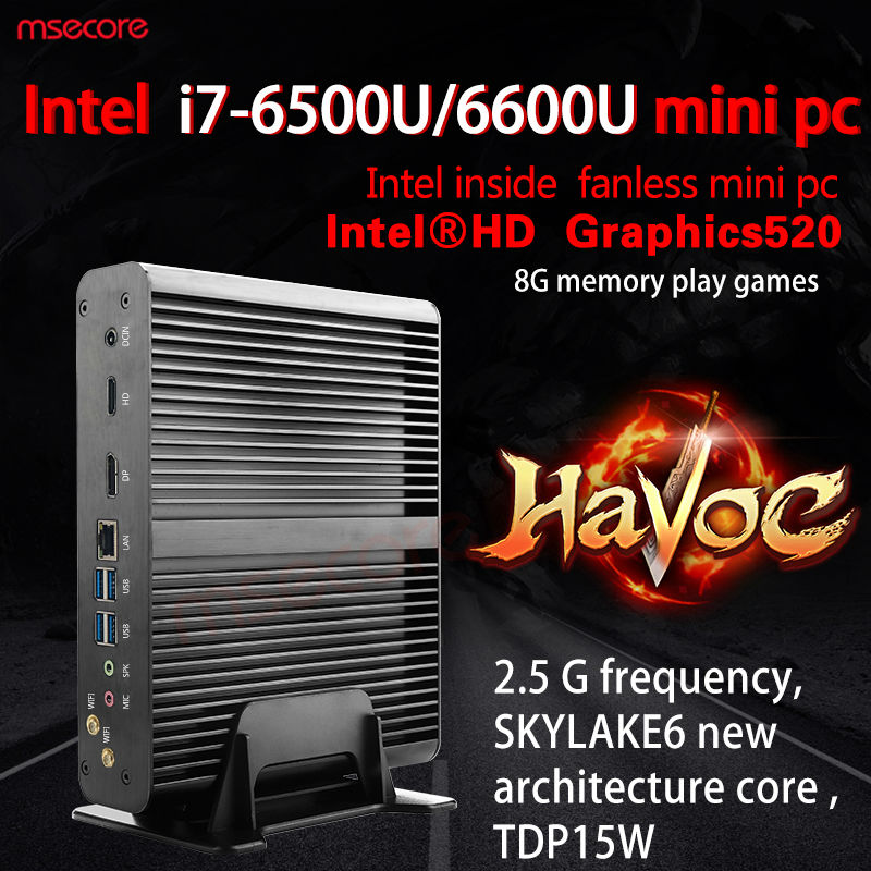 Fanless Intel Core i7 6500U Mini PC Windows 10 Desktop s