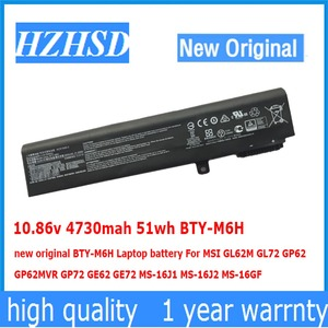 10.86 v 4730 mah 51wh BTY-M6H BTY-M6H novo original bateria Do Portátil Para MSI GL62M GL72 GP62 GP62MVR GP72 GE62 GE72 MS-16J1