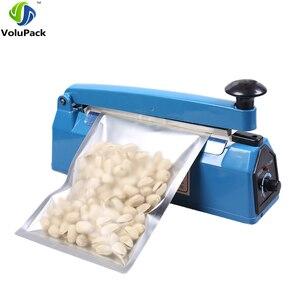 Image 1 - 고품질 ac 110 v/220 v, 50 hz 임펄스 실러 수동 열 씰링 기계 알루미늄/플라스틱 오픈 탑 가방 식품 저장 가방