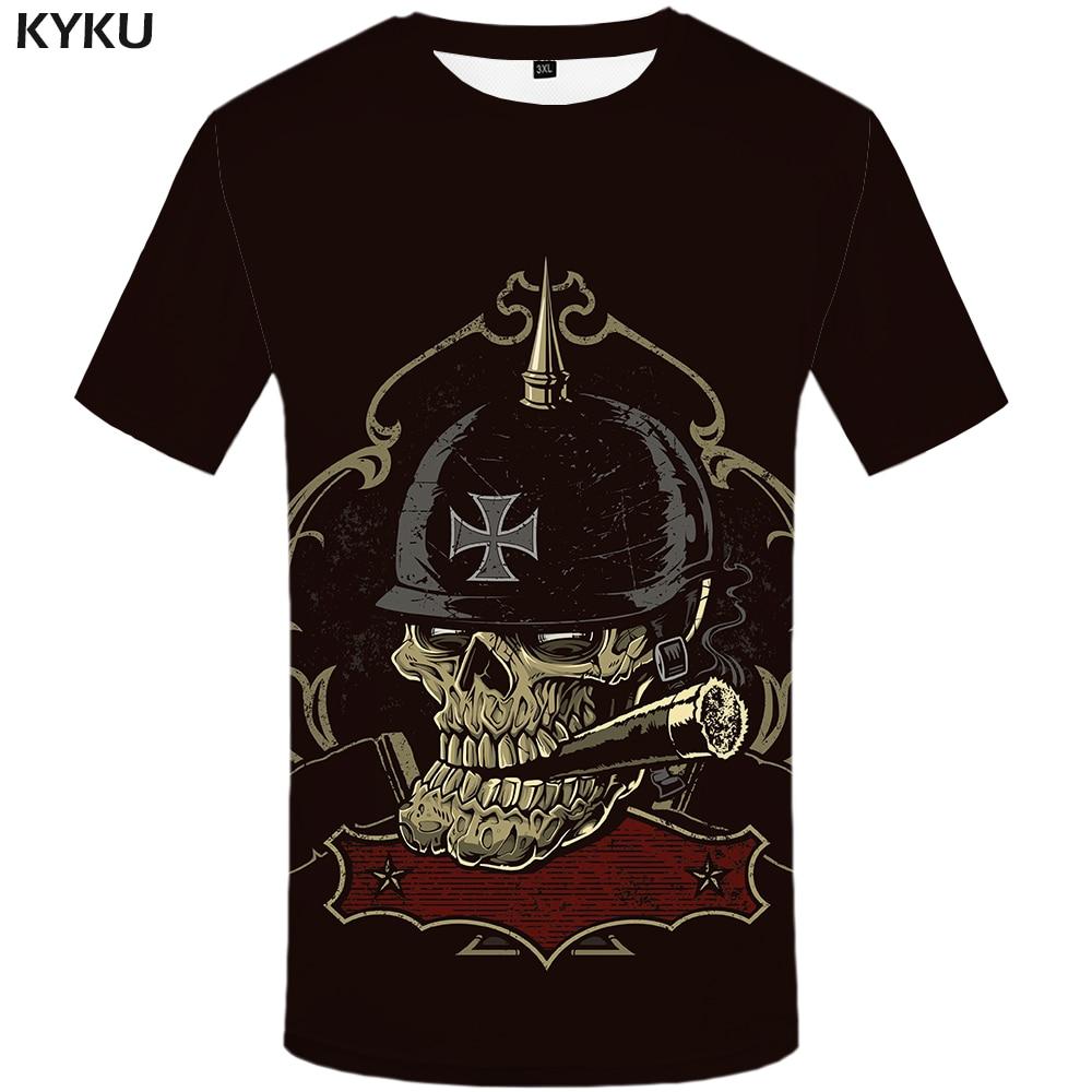 KYKU Brand Germany   T  -  Shirt   Skull   Shirt   Military Tshirt Streetwear 3d   T     Shirt   Men Clothes Hip Hop Clothing Summer Fashion 2018