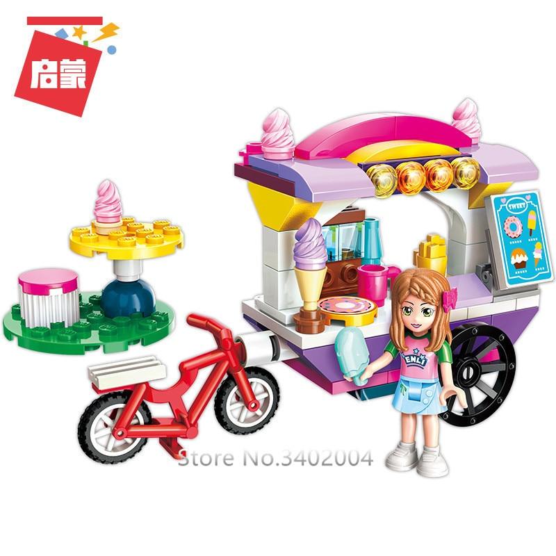 ENLIGHTEN 4Pcs/lot Friends City Girls Ice Cream Car Stall Stage Building Blocks Sets Bricks Educational Toys for Girls-in Blocks from Toys & Hobbies    3