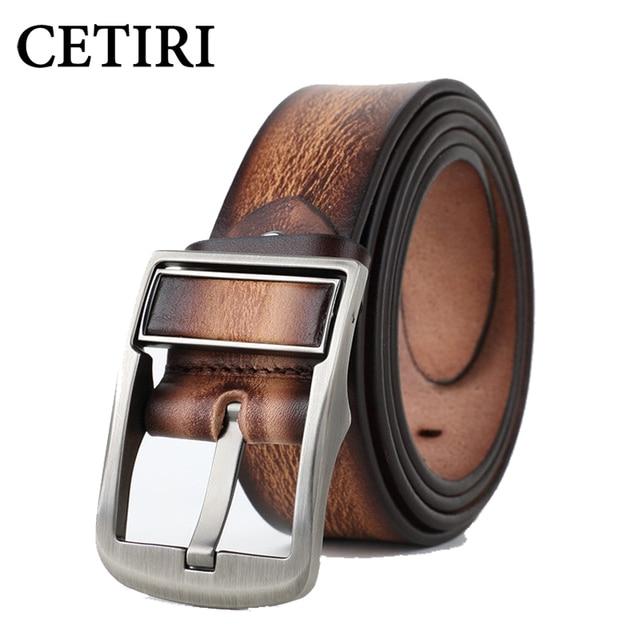 Cinturón Reversible de cuero con hebilla giratoria para hombre de calidad superior clásico auténtico piel de vaca de doble cara con hebilla