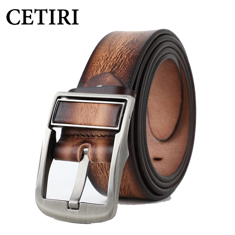 Rotatable Buckle Leather Reversible   Belt   For Men Top Quality Classic Genuine Cowskin Double-Sided Rotating Pin Buckle   Belts