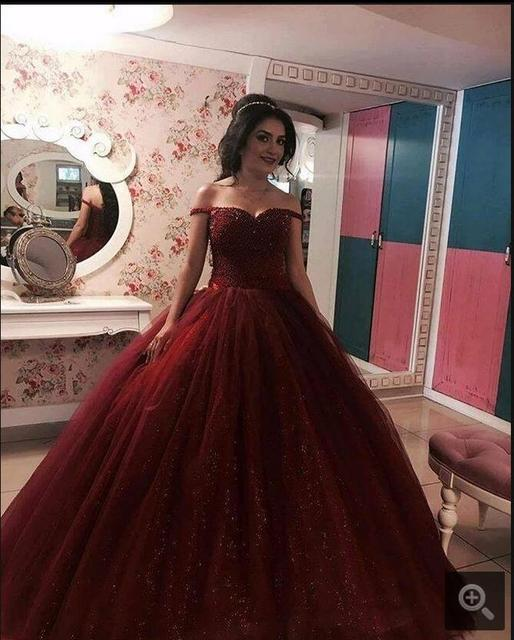 Luxury burgundy ball gown heavily beading prom dress princess off ...