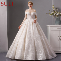 SL 7016 Full beads sequined Lace luxury sweetheart long sleeves ball gown wedding dress 2019 bridal dress wedding gown