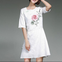 White New Women's Dress Cotton And Linen Hand painted Chinese Painting Woman's Clothes Vintage Bead Button Dresses