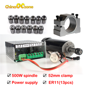 Image 2 - 500W Air Cooled Spindle ER11 Chuck CNC 0.5KW Spindle Motor + 52mm clamps + Power Supply speed governor For DIY CNC