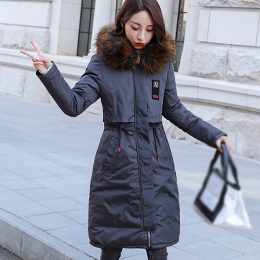 Down     Coat   Women Winter Long Section Of Two Sides Wearing 2018Winter New Thicken Large Fur Collar Cotton Jacket Slim Fashion   Coat