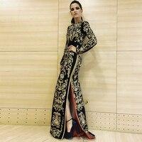DressBird женское осенне зимнее облегающее платье с длинным рукавом Vestidos элегантное Золотое макси сплит зимнее платье для подиума Клубное плат
