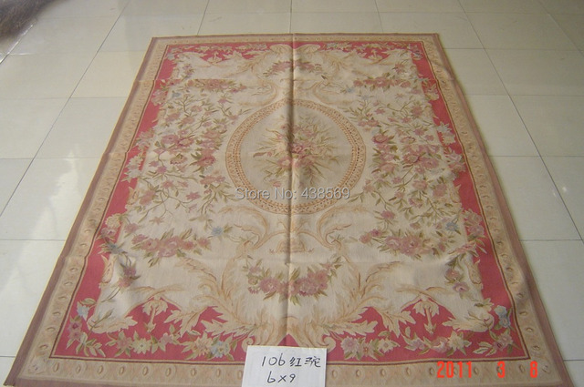 Free Shipping 9 X12 Aubusson Woolen Rugs Red And Camel Design Shabby Chic Carpets