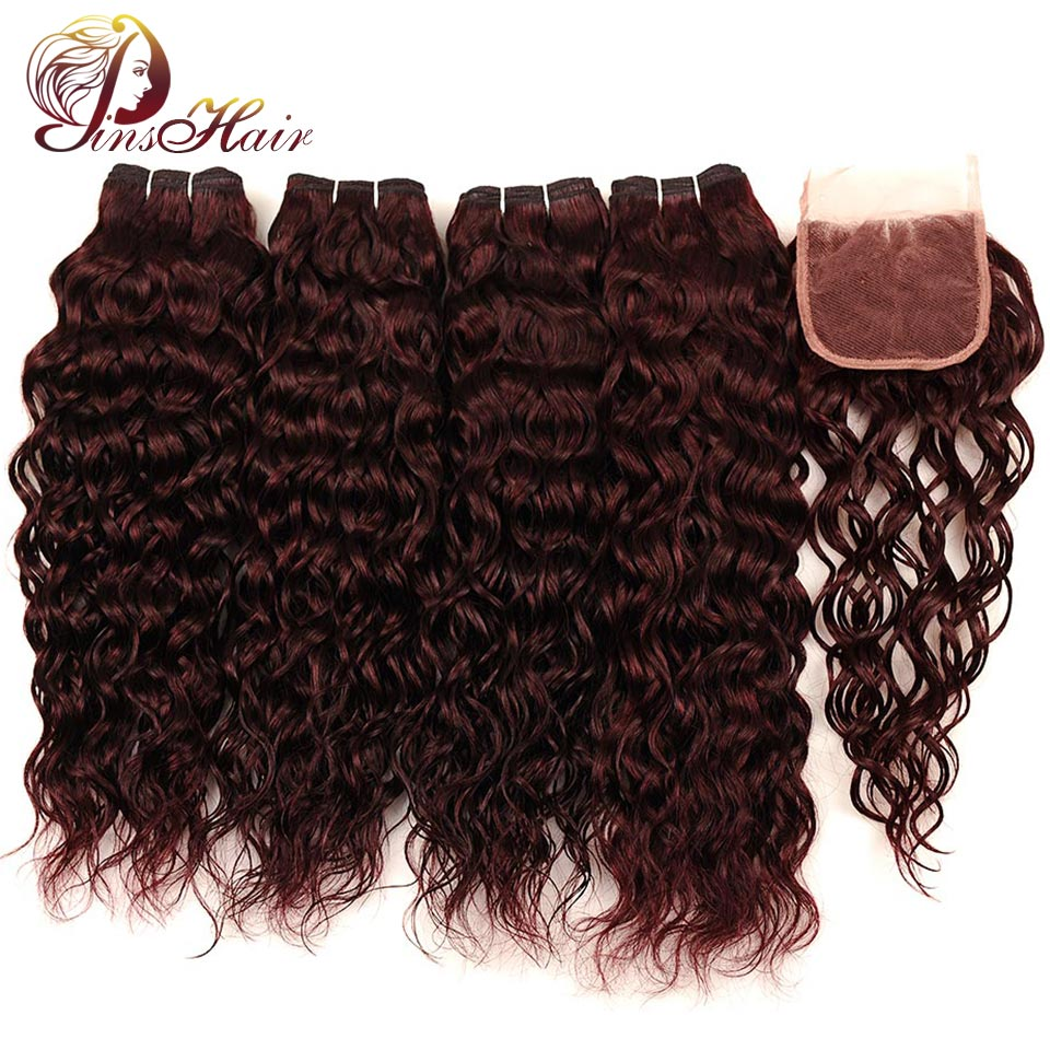 Pinshair Water Wave Hair Dark Red Peruvian 4 Bundles With Closure Burgundy Wet Wavy Non  ...