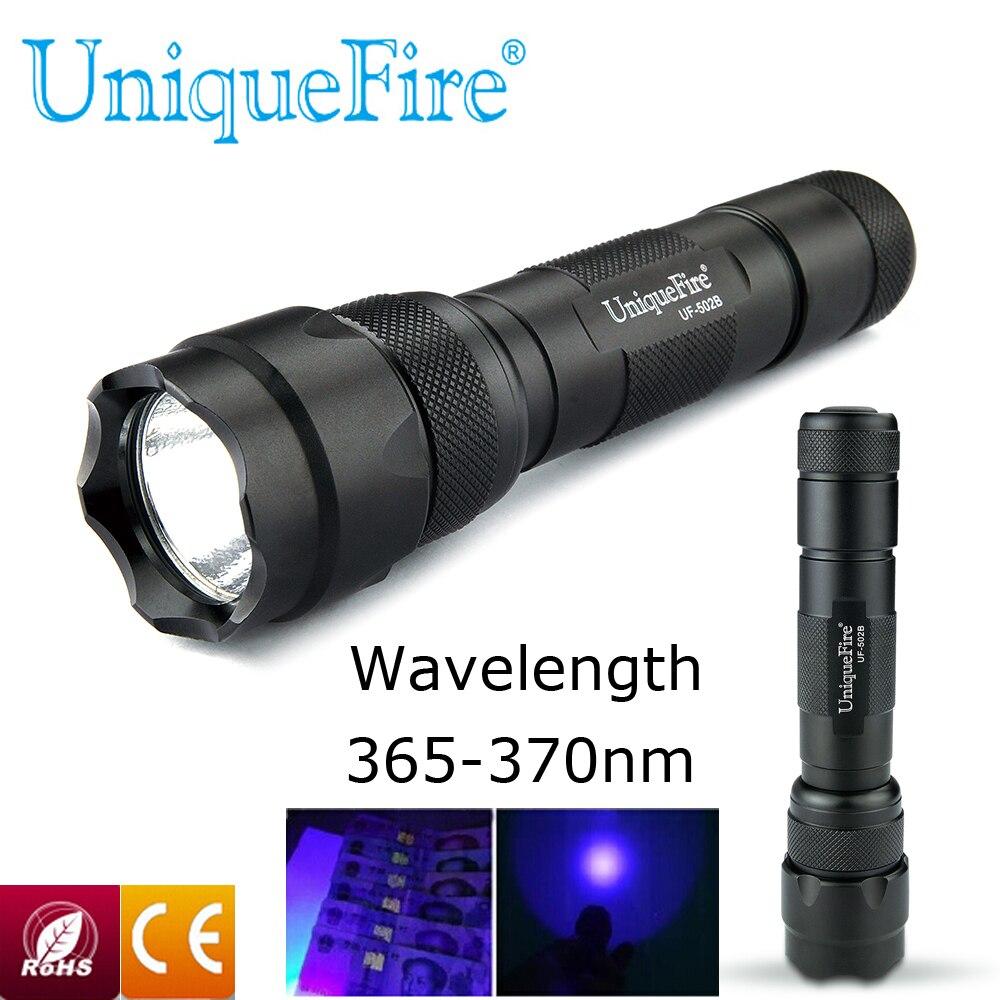 Mini UV Flashlight Single File 502B 3W UV 365-370nm LED Flashlight 1 Mode Torch Light For Searching Camping Range To Underwater