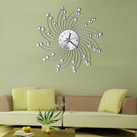 WH Big 3D Iron Radial Decorative Wall Clock Retro Design The Clock On Wall NN