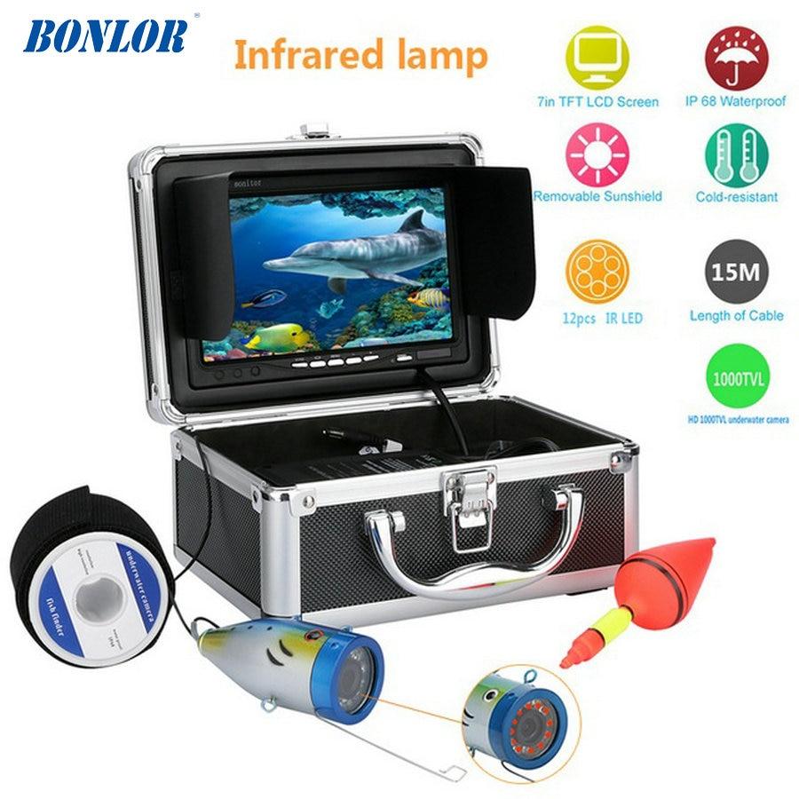 BONLOR Fish Finder Underwater Camera 15M 7'' 1000TVL HD Waterproof Underwater Ice Fishing Camera 12pcs Infrared LED Fishin цена 2017