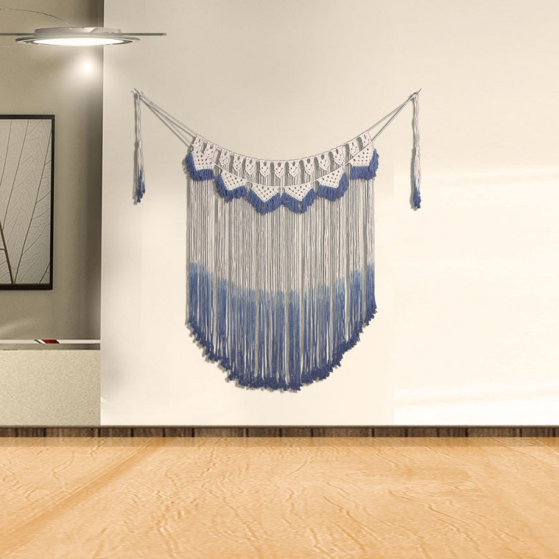 Wall Tapestry Blue Tapestry With Tassel Bohemian Mandala Wall Hanging <font><b>macrame</b></font> <font><b>Tenture</b></font> <font><b>murale</b></font> mandalas Sofa Bed Background Tapiz image