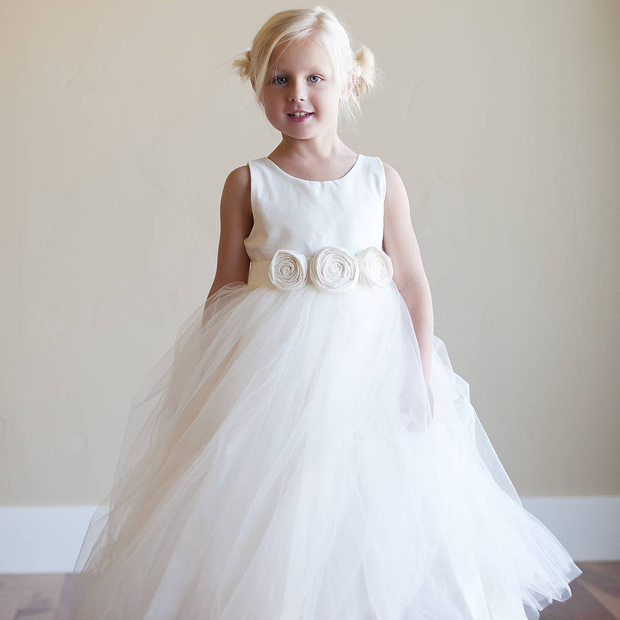 2018 New Flower Girls Dresses For Wedding Gown Tulle Girl Birthday Party Dress Long Girl Pageant Dresses Mother Daughter Dresses