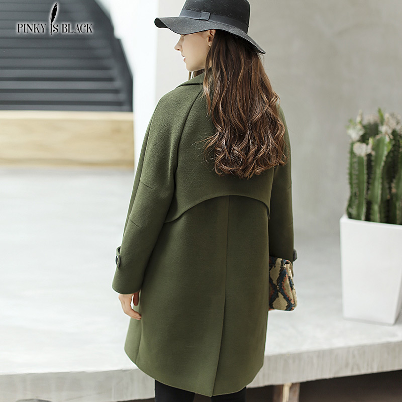 PinkyIsBlack 2019 Winter Woolen Women Coat Long Trench Turn down Collar Preppy Style Female Jacket Wool Blends Outwear in Wool amp Blends from Women 39 s Clothing