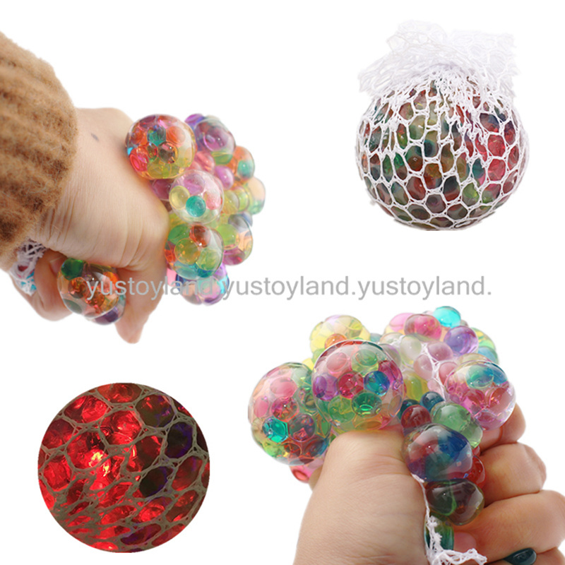 1PC Cute Colorful Rainbow Squeeze Ball Squishy Anti Stress Grape Gel Reliever Stretchy Soft Fun Adult Kid Toy Joke Gift 2018 New