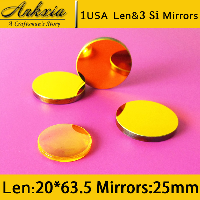 1PCS Dia 20mm Length 63.5mm USA ZnSe Co2 Laser Focus Len and 3PCS 25mm Silicon Mirrors for Cutter Engraving Machine  цены