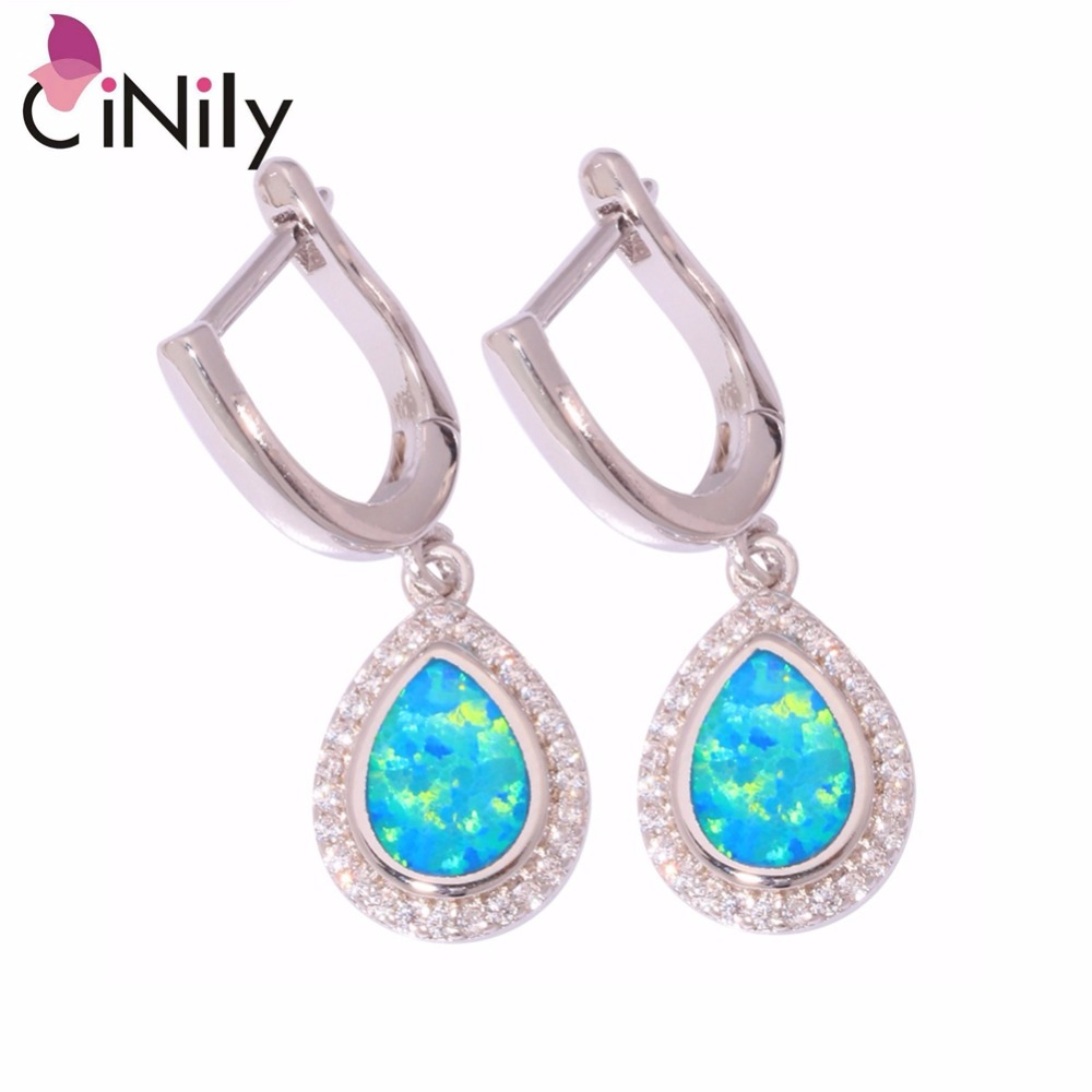 CiNily White & Blue Fire Opal Tear Drop Earrings With Stone Silver Plated Filled Dangling Earring Big Fully-Jewelled Woman Girl