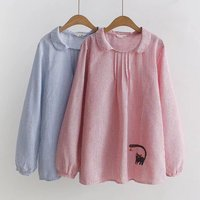 New Spring Hooded Stripe Shirt Female Kitten Embroidery Peter Pan Collar Long Sleeved Shirt Student All