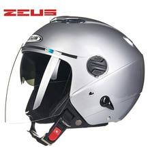 Casco ZEUS moto rcycle casco de visera larga Retro Vintage casco moto Half face 4 estaciones moto rcycle cascos