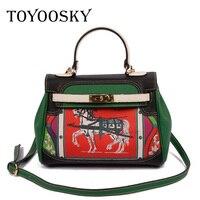 TOYOOSKY Designer Luxury Print Horse Women Bag Versatile Messenger bag Female Shoulder Bag Litchi Leather Crossbody Lady Handbag