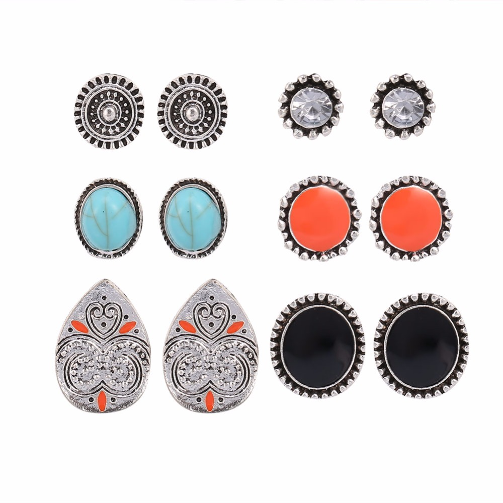 6Pairs/Set Women Round Earrings Ear Studs Rings with Rhinestone Resin Decoration