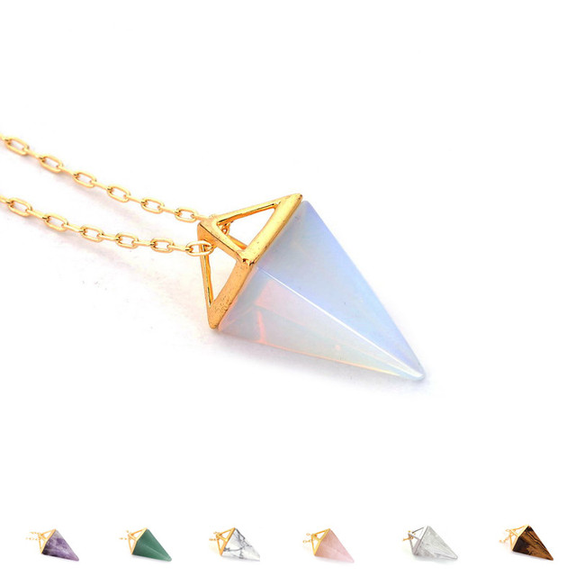 Healing Crystal Opal Pyramid Amethyst Necklace Gold Plated Howlite Rose Quartz Amulet Natural Stone Pendant Necklaces collier