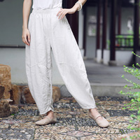 New Arrival National Style Elastic Waist Loose Vintage Wide Leg Pants Solid Color White Ramie Female