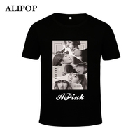 KPOP Koreański Mody APINK ALIPOP 3th Album RÓŻOWY REWOLUCJA PT227 K-POP Wizytówką Bawełna Tshirt Koszulki z krótkim rękawem T-shirt