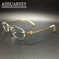 Rimless Eyeglasses Frame Women Glasses Frame Fashion Optical Prescription Titanium Diamond Rhinestone Hollow Wholesale Elegant