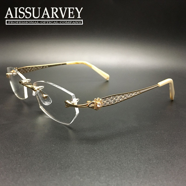 048d7dad8c Rimless eyeglasses frame 3pcs lot women glasses frame optical prescription  titanium diamond rhinestone hollow wholesale
