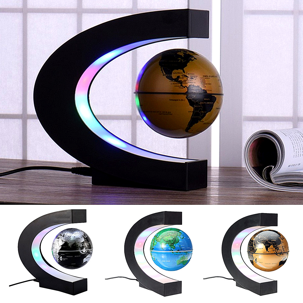 Anti Gravity Magnetic Levitation Earth Globe Floating Terrestrial Globe World Map with LED Light Home Office Decoration OrnamentAnti Gravity Magnetic Levitation Earth Globe Floating Terrestrial Globe World Map with LED Light Home Office Decoration Ornament