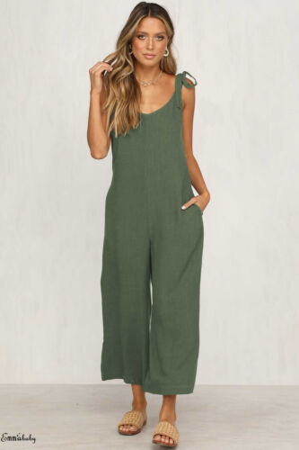 Women's Sleeveless Solid Jumpsuit Romper Casual Clubwear Wide Leg Pants Outfits