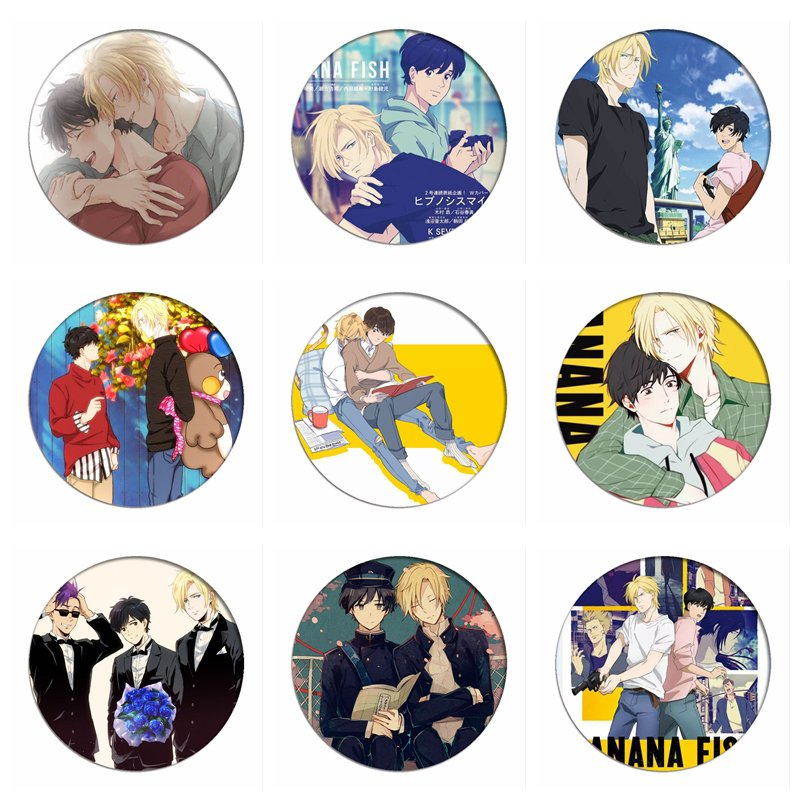 Manga Akimi Yoshida BANANA FISH Okumura Eiji Cosplay Badge Ash Lynx Brooch Pins Cartoon Collection Badges For Backpacks