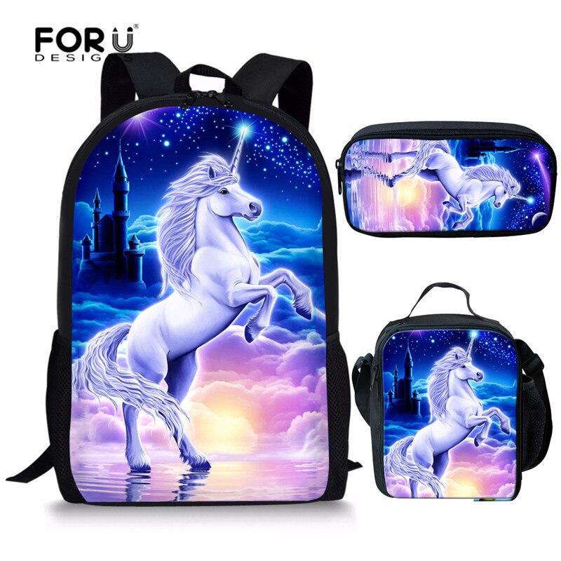FORUDESIGNS Girls Boys School Bags Set Kids Unicorn School Backpack For Kid Bookbag Student Schoolbag Kids Pencil Bag Mochila