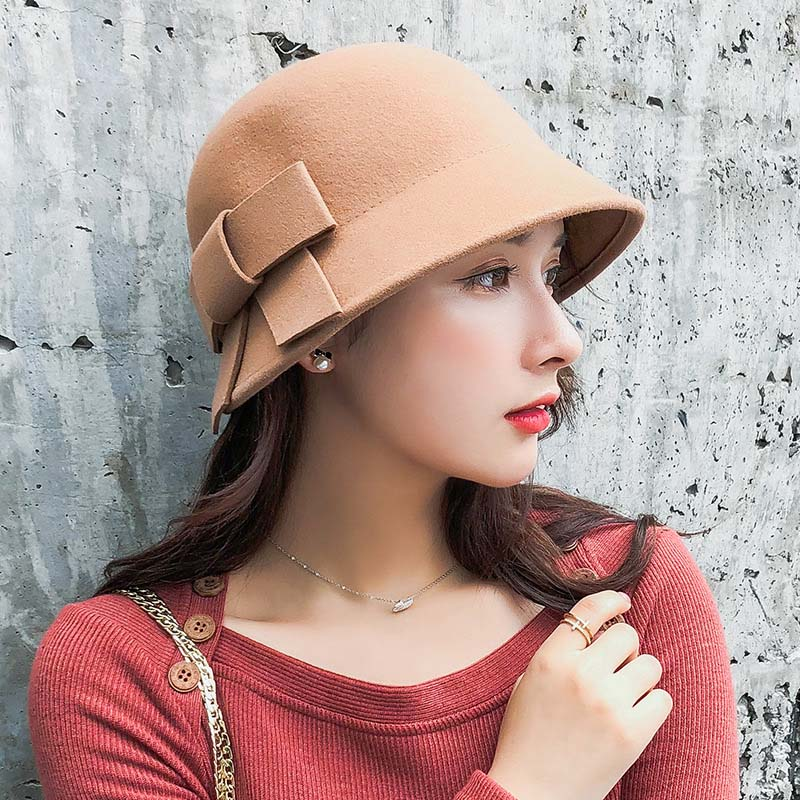 QDKPOTC 2018 New Fashion Autumn Winter Vintage Woolen Fedoras Elegant Cute Bucket Hat Women Butterfly Literature And Art Cap in Women 39 s Fedoras from Apparel Accessories