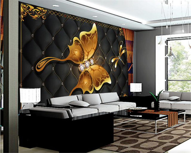 Beibehang Custom Photo Wallpaper Gold Butterfly Jewelry Living Room