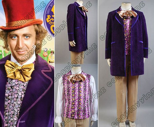 Gene Wilder as Willy Wonka 1971 Purple Jacket Costume 5pcs Men Costume