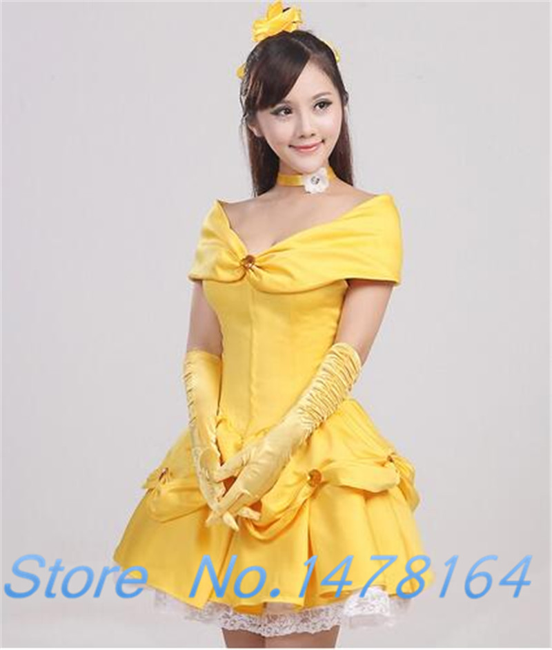 Beauty and the Beast Belle Princess Cosplay Costume Short Dress halloween party