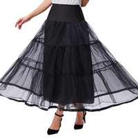 Hot Sale Women Two Layers Voile Petticoat 1950s Style Vintage Solid Underskirts Casual Prom Party Empire Elastic Skirt For Girl