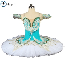 HigirlBT9044 Blue white classical ballet tutu girl stage performance ballerina dance costume women