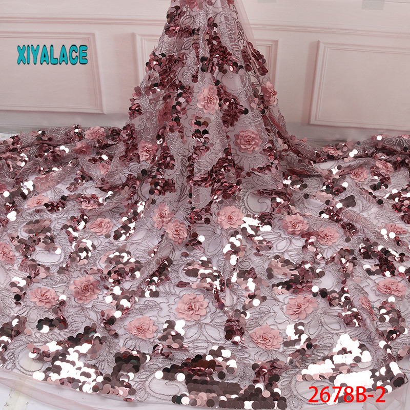 Nigerian Lace Fabrics 2019 High Quality French 3D Tulle Beaded African Lace Fabric Sequins Embroidered For Wowen Dress YA2678B-2