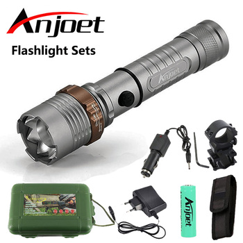 цена на Anjoet Sets Flashlight zoom torch waterproof XM-L T6 LED 5-mode Zoomable Lanterna light For Rechargeable 3x AAA or 18650 Battery